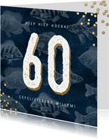 Verjaardagskaart 60 jaar man met vissen en confetti