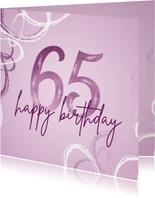 Verjaardagskaart 65 modern lila met abstracte vormen