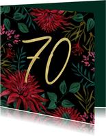 Verjaardagskaart 70 bloemen goud klassiek stijlvol