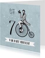 Verjaardagskaart 70 jaar man vintage fiets