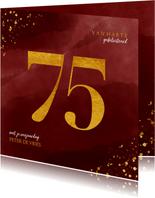 Verjaardagskaart 75 jaar gouden spetters op waterverf