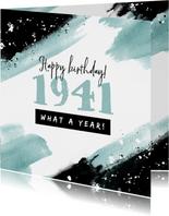 Verjaardagskaart 80 jaar 1941 stoer kunst verf