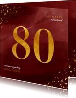 Verjaardagskaart 80 jaar gouden spetters op waterverf