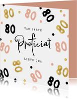 Verjaardagskaart 80 jaar roze goud zwart vrouw oma