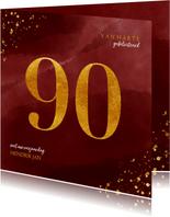 Verjaardagskaart 90 jaar gouden spetters op waterverf