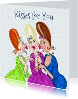 Verjaardagskaart a lot of kisses for you!