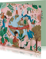 Verjaardagskaart aarde bomen en groente