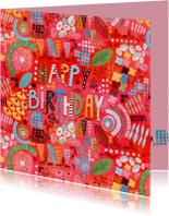Verjaardagskaart Abstract Rood