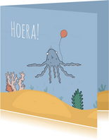 Verjaardagskaart alle tentakels in de lucht!