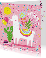 Verjaardagskaart alpaca ballonnen en slingers