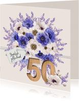 Verjaardagskaart anemonen 50 jaar