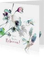 Verjaardagskaart anemoon en libellen