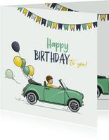 Verjaardagskaart auto mini groen met ballonnen
