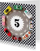 Verjaardagskaart auto's leeftijd