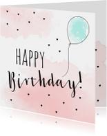Verjaardagskaart ballon met waterverf