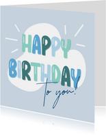 Verjaardagskaart ballonletters happy birthday blauw