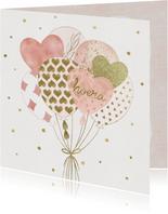 Verjaardagskaart - Ballonnen en Confetti