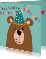 Verjaardagskaart - beer met blauwe feestmuts