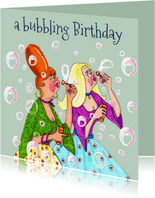 Verjaardagskaart Bellen blazen in kleur