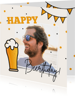 Verjaardagskaart bier man happy beerthday confetti foto