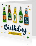 Verjaardagskaart bierflesjes