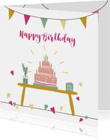 Verjaardagskaart Birthday Cake with Candles