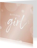 Verjaardagskaart birthday girl in mooie blush kleur
