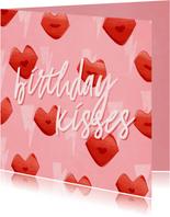 Verjaardagskaart birthday kisses kusjes en bliksemschichten