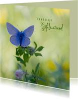 Verjaardagskaart blauwe vlinder