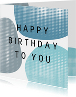 Verjaardagskaart - blauwe vormen