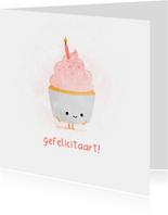 Verjaardagskaart blije cupcake gefelicitaart