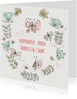 Verjaardagskaart Bloem Vlinder