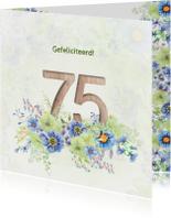 Verjaardagskaart bloemen 75 jaar