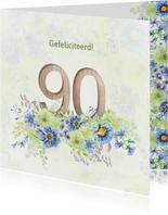 Verjaardagskaart bloemen 90 jaar