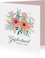 Verjaardagskaart bloemen boeket gefeliciteerd confetti vrouw