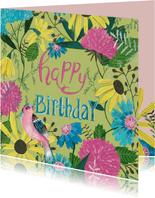 Verjaardagskaart bloemen en prachtige vogel