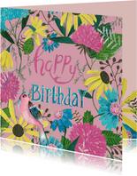 Verjaardagskaart bloemen en vogel