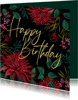 Verjaardagskaart bloemen happy birthday goud
