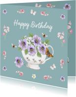 Verjaardagskaart Bloemen in porseleinen kom.