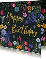 Verjaardagskaart bloemen met glitterlook