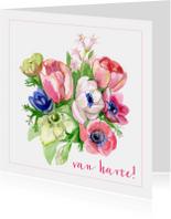 Verjaardagskaart Bloemen Van Harte