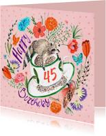 Verjaardagskaart Bloemen Wasbeer