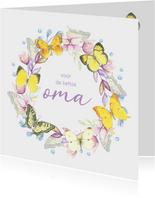 Verjaardagskaart - Bloemenkrans met vlinders