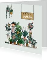 Verjaardagskaart bloemenwinkel groen