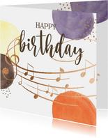 Verjaardagskaart - Bollen met muzieknoten