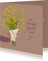 Verjaardagskaart bos gele bloemen
