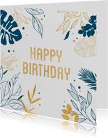 Verjaardagskaart botanical gold