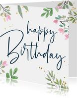 Verjaardagskaart botanisch goud
