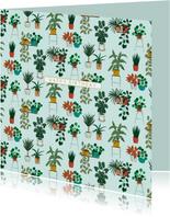 Verjaardagskaart botanisch kamerplanten