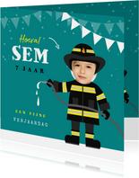 Verjaardagskaart brandweer brandweerman foto
